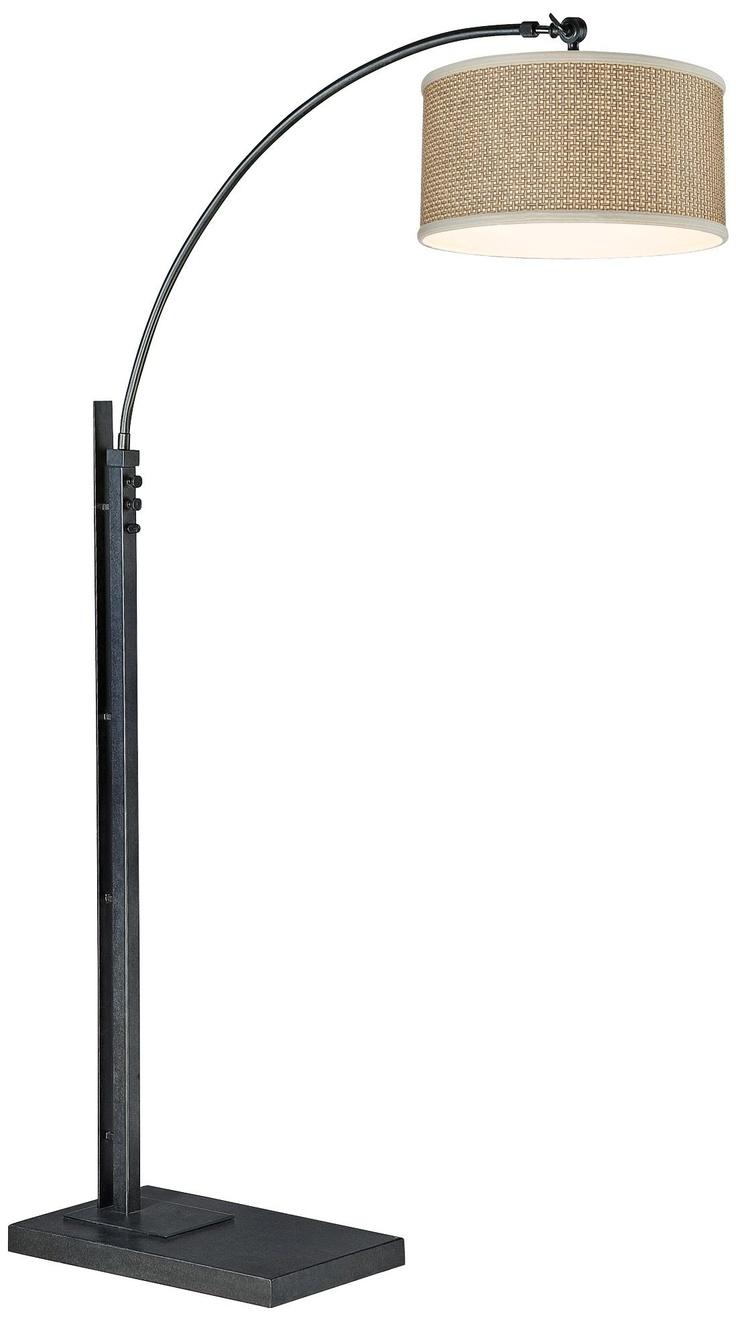 quoizel zen bronze and black finish arc floor lamp. Black Bedroom Furniture Sets. Home Design Ideas