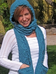 Crochet Hooded Scarf With Pockets