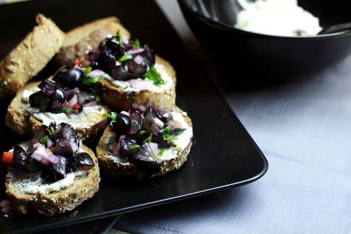 Grape salsa and goat cheese crostini | Catering & Party Foods | Pinte ...