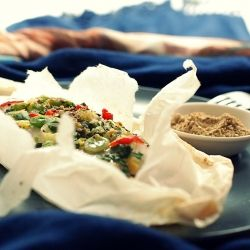 Celery-Scallion Sole En Papillote, served with Dukkah. Egyptian ...