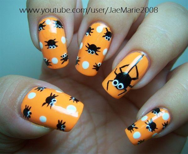 Polka Dot Spiders-Halloween Design by jaemarie2008 - Nail Art Gallery nailartgallery.nailsmag.com by Nails Magazine www.nailsmag.com #nailart
