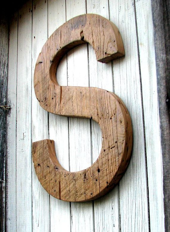 decorative rustic barn wood letter 20 custom made from salvaged wood