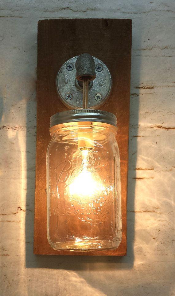 mason jar sconce light fixture rustic reclaimed by thepinktoolbox 45. Black Bedroom Furniture Sets. Home Design Ideas