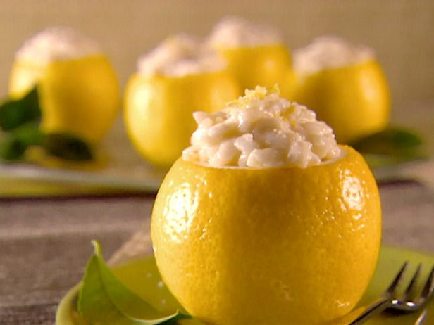 Giada de Laurentiis lemon risotto in a hollowed out lemon cup