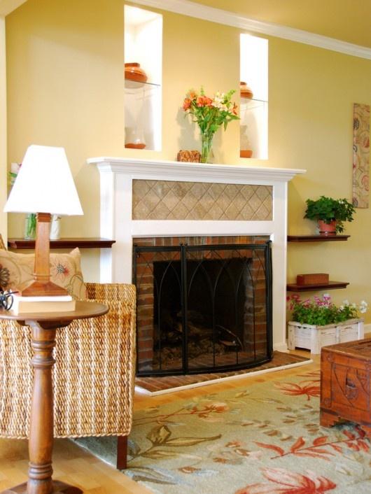 floating shelves flanking fireplace mantels fireplaces pinterest. Black Bedroom Furniture Sets. Home Design Ideas