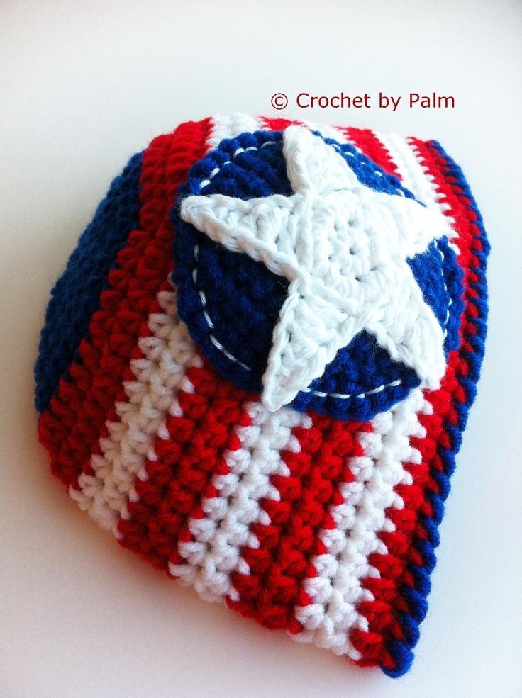 Captain USA Crochet Beanie, Halloween Cap - Ready to ship. $15.00, via ...