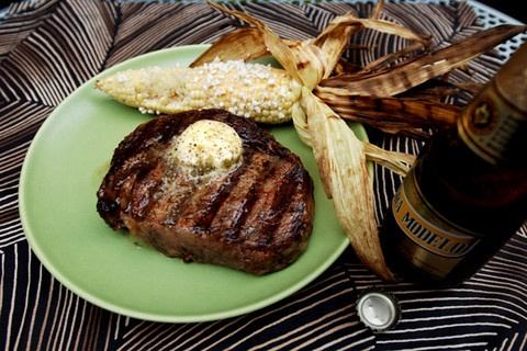 Grilled Rib-Eyes with Chile-Lime-Tequila Butter Recipe
