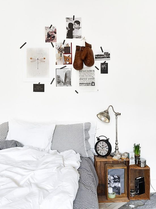 old crates as bedside tables and bedroom wall art
