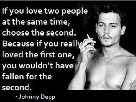 2 Famous Quotes About Love : Johnny depp quote about love loving two people at once