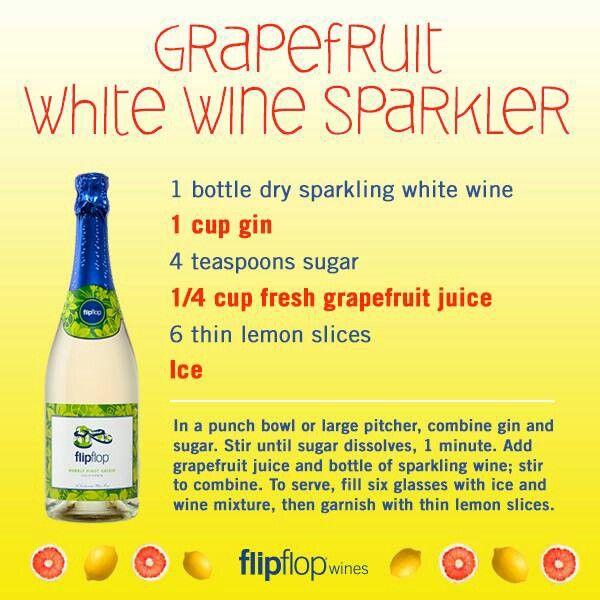 Grapefruit white wine sparklers | Wine | Pinterest