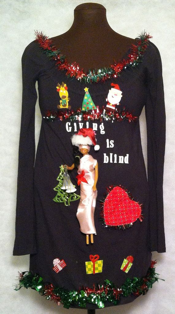 Ugly christmas sweater dress size small justice is blind and so is ch