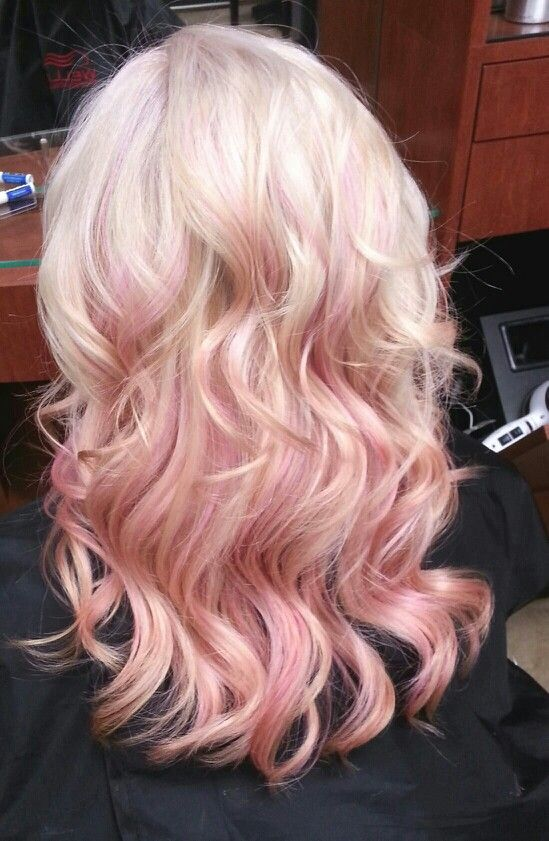 Blonde with pink highlightsBleach Blonde Hair With Pink Highlights