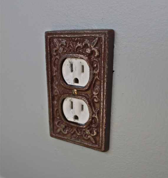 Decorative Wall Plates Electrical Outlets : Brown decorative electrical outlet plate plug in cover