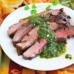 Beer-Marinated Grilled Flank Steak With Peach & Tomato Salsa Recipes ...