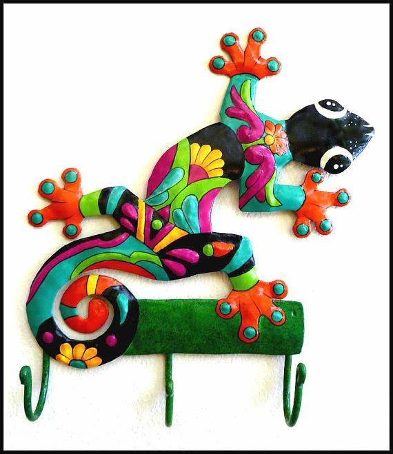 Gecko Hand Painted Metal Wall Hook Haitian by ...
