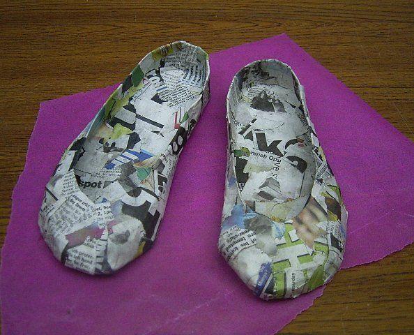 Paper mache shoes shoes pinterest for Easy paper mache crafts