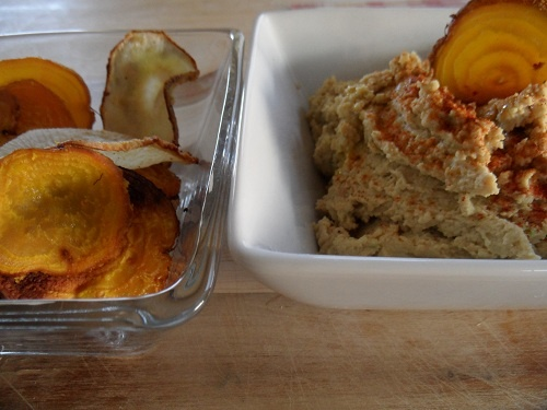 Fire-Roasted Jalapeno Hummus served with Turnip & Beet chips. Find the ...