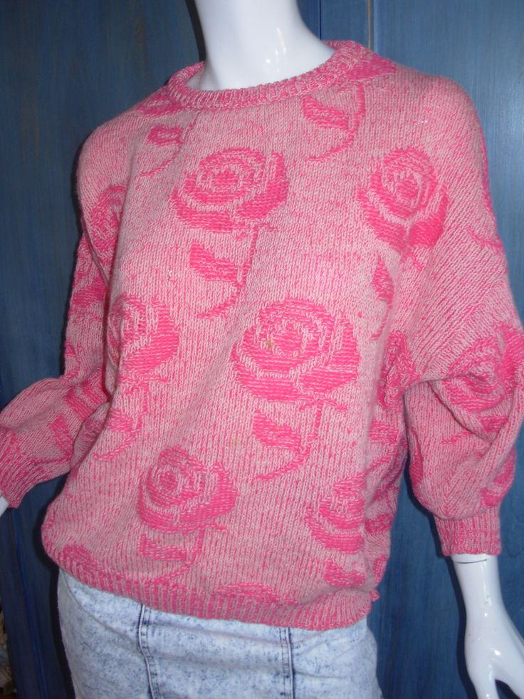 80s Benetton rose sweater  80s girl  Pinterest