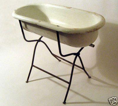 antique primitive dutch porcelain baby bath w iron stand 1940s flower. Black Bedroom Furniture Sets. Home Design Ideas