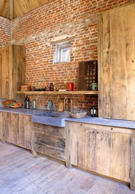brick stone wood and concrete 15 beautiful rustic kitchens. Black Bedroom Furniture Sets. Home Design Ideas