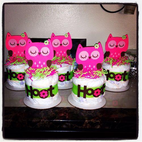owl diaper cake minis baby shower gifts birthday centerpieces custom
