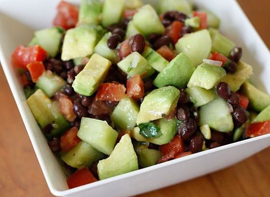 black bean, avocado, cucumber and tomato salad – low-cal