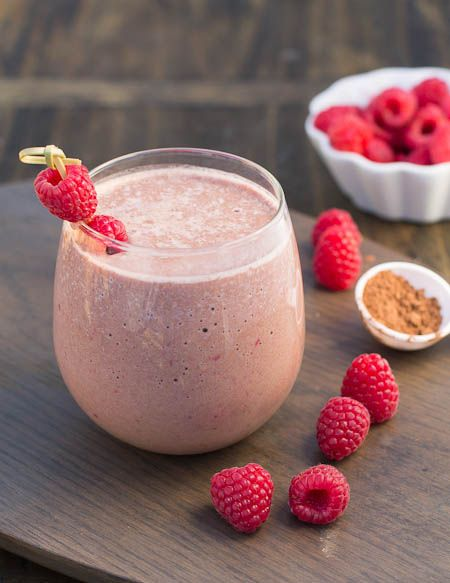 Chocolate Raspberry Protein Shake 1 scoop chocolate protein powder 1 ...