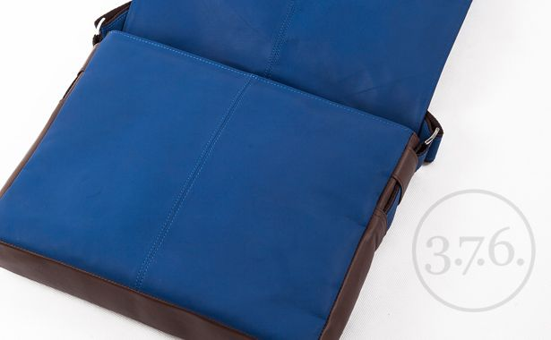 Brown  cobalt blue  brown messenger bag