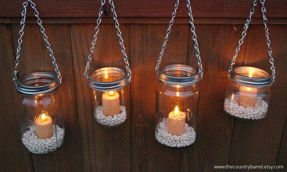 Mason Jar Lanterns Hanging Tea Light