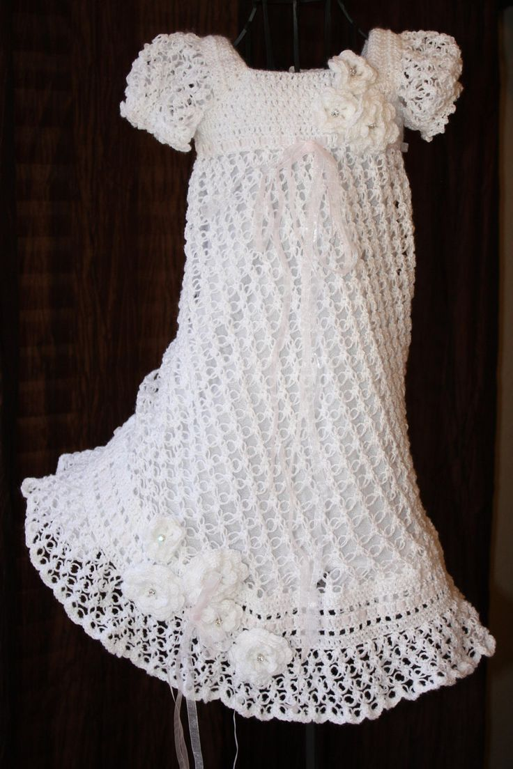 The Ella – Crochet Baby Dress, Christening Gown, Blessing Dress, Baptism Dress,