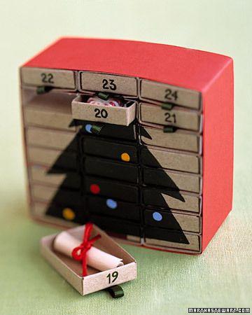 Matchbox DIY Advent Calendar. My hubby and I are not religious but we love Christmas - I am going to fill it with different love notes stating what type of affection we are to give to eachother and maybe a small candy. (: