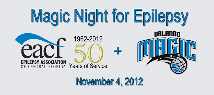 "The Epilepsy Association of Central Florida has organized a ""Magic Night for Epilepsy""! Meet and greet with the Orlando Magic, enjoy the basketball game, get a special t-shirt, there will be announcement about Epilepsy and our group at halftime, and much more! Only a mere $7 per person! RSVP and Register now! Click the link below!    http://epilepsyassociation.com/magic/"