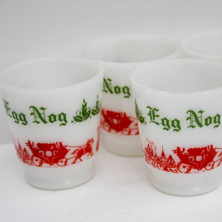 Vintage Christmas Glasses - Egg Nog Glasses, MIlk Glass, Black Friday ...