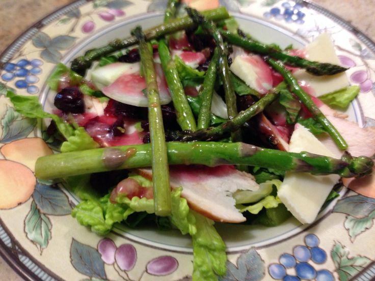 Grilled chicken salad w asiago cheese & asparagus, topped with ...