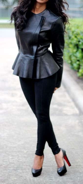 Leather jacket and pumps