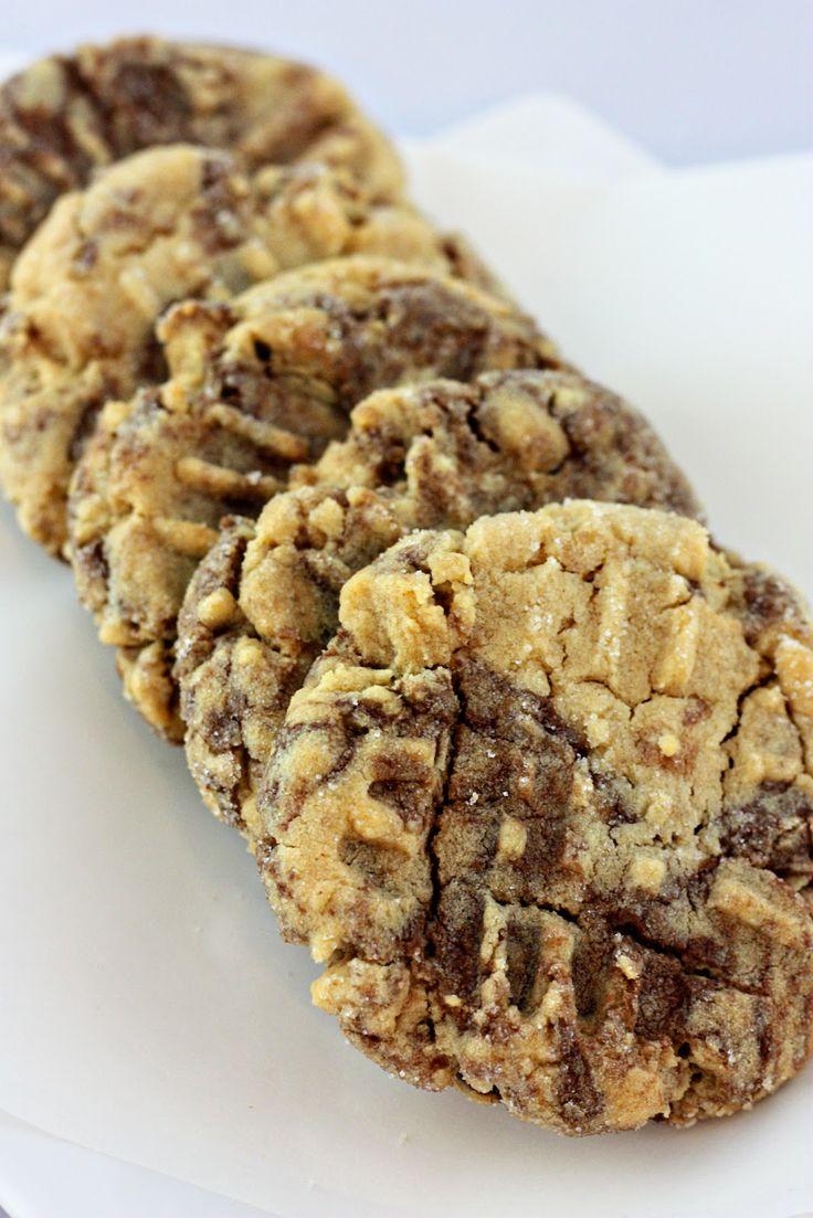 Peanut Butter & Nutella Swirl Cookies   Desserts   Pinterest