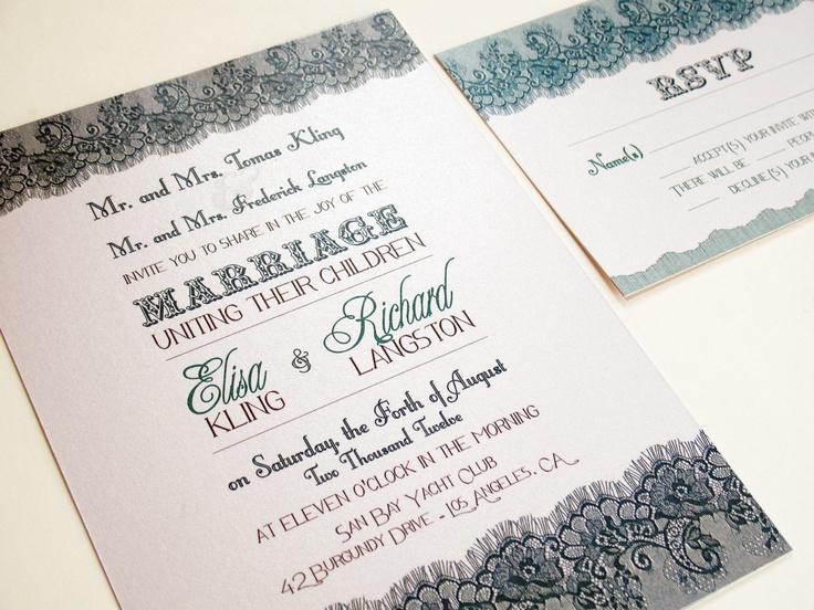 Lace WEDDING INVITATIONS Printable Vintage DIY Set Irving Suite
