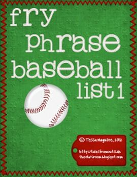 Fry Phrase Baseball for the first list