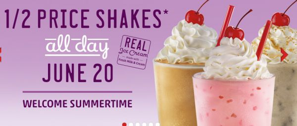Sonic half priced shakes all day on june 20 2013