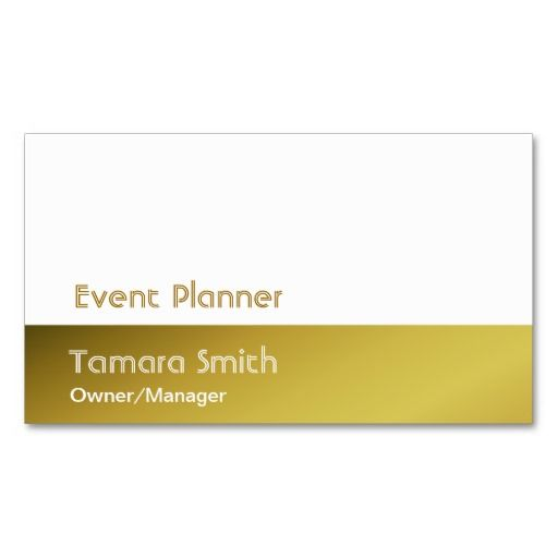 Gold Yellow Event Planner Business Card Template