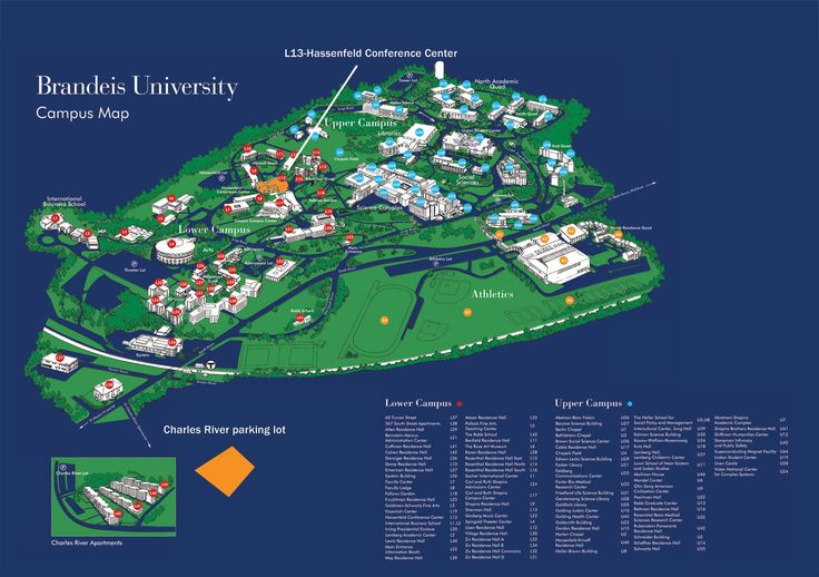 Brandeis campus map Boston Pinterest