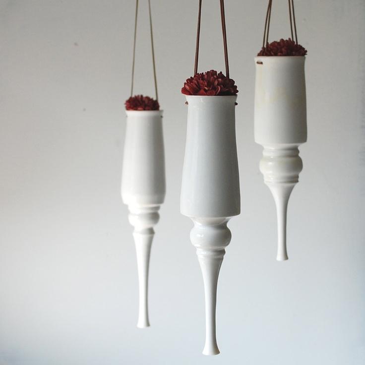 One Hanging Indoor Planter - Handmade Porcelain Planter