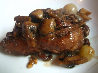 braised chicken w/ mushrooms and bacon... i LOVE all of these things.