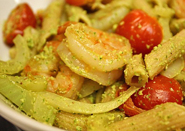 RECIPE: Penne with arugula and pistachio pesto, grilled shrimp, cherry ...