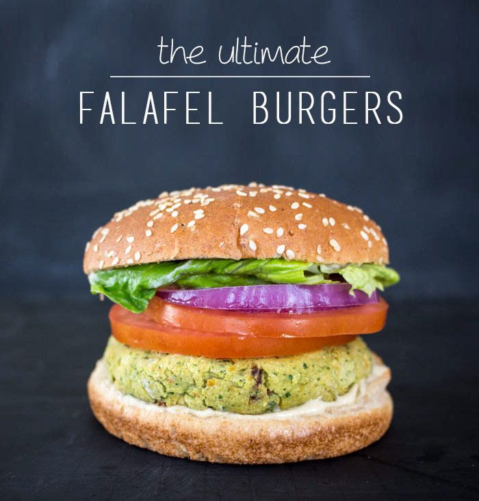 The Ultimate Falafel Veggie Burgers with lemon tahini mayo! #vegan