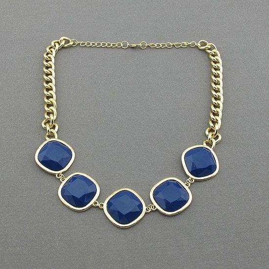 navy blue necklace bib necklace statement necklace by