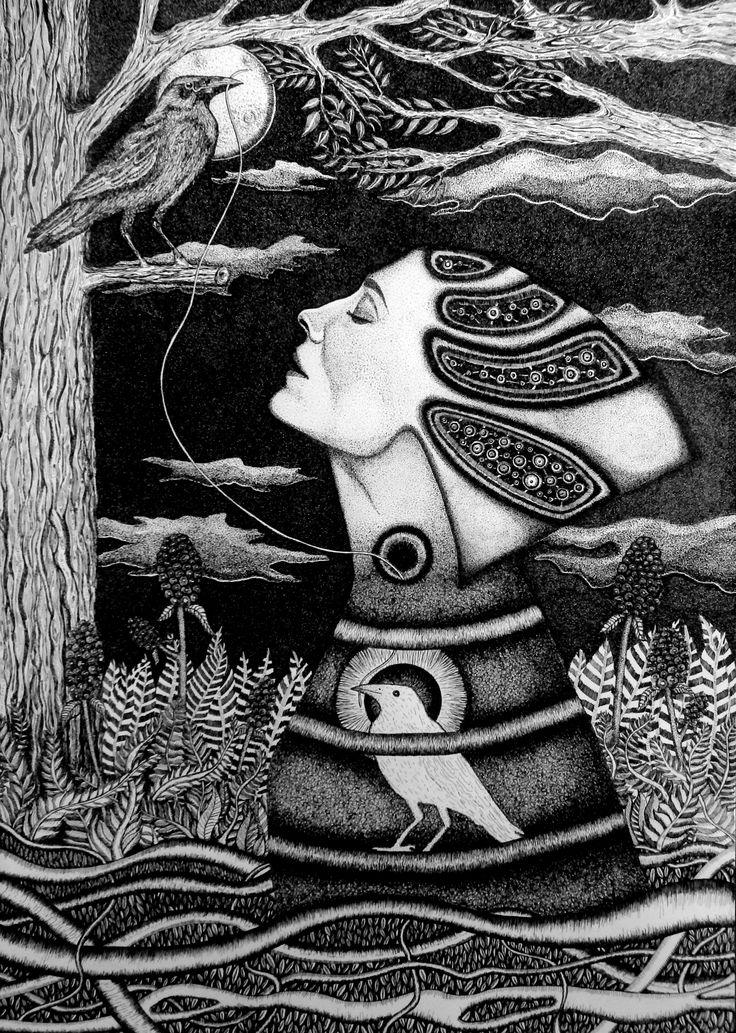 Aneta Mlaś –Touanda, Światłoczułość, rysunek tuszem, 50x70cm, 2014r.