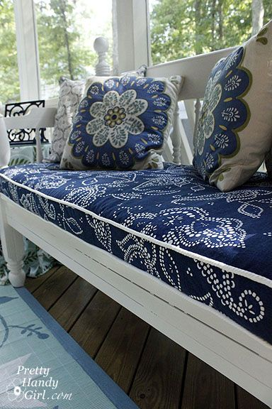 Tutorial for sewing a bench seat cover with piping...using a shower curtain!