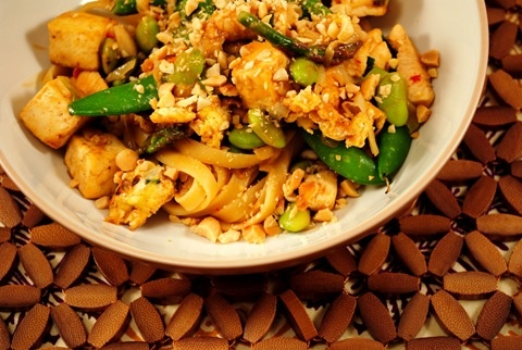 Thai peanut noodles with chicken - good but use less chili paste!