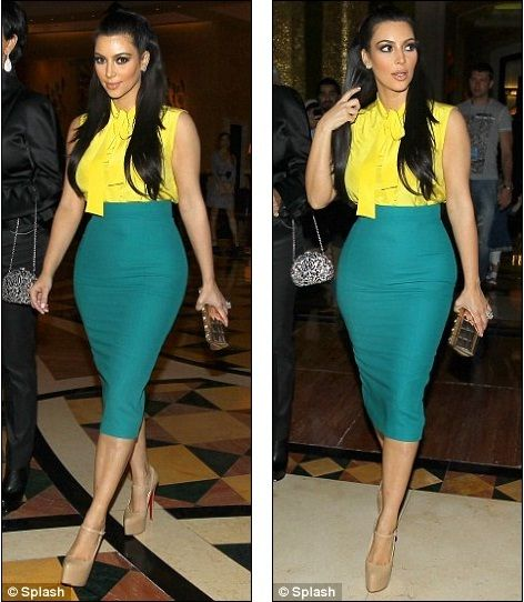 Kim Kardashian Curvy high waisted pencil skirt. Gosh she has the most PERFECT body ever.